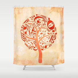 Watercolor music tree Shower Curtain