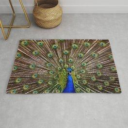 Peacock Bird Closeup Feathers Rug