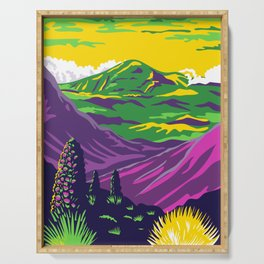 Haleakala National Park and Haleakala Volcano in Maui Hawaii United States WPA Poster Art Color Serving Tray