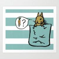 Pocket Bunny Art Print