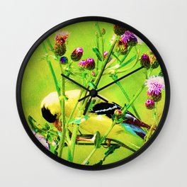 Goldfinch Yellow Bird Purple Flowers A101 Wall Clock