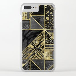 Ethnic Geometric Wooden texture pattern Clear iPhone Case