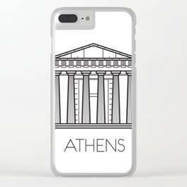 Acropolis Athens Greece Black and White Clear iPhone Case