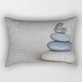 Balanced pebble stack with heart on top Rectangular Pillow