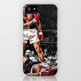 Mama Said I'm Gonna Knock You Out - Ali Knocks out Liston B&W over Color Painting iPhone Case