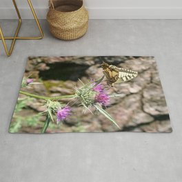 Scarce Swallowtail Butterfly and Thistle Rug