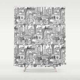 Seattle black white Shower Curtain