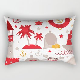 pattern with sea icons on white background. Seamless pattern. Red and gray Rectangular Pillow