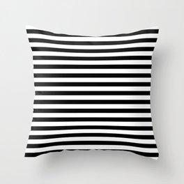 Narrow Horizontal Stripe: Black and White Throw Pillow
