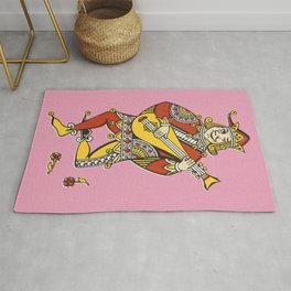 Joker play the Mandolin funny vintage drawing illustration Rug
