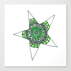 Green Superstar Mandala Star Canvas Print