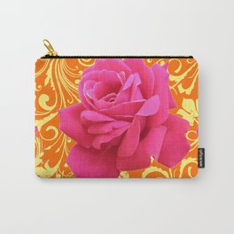 PINK ORANGE  ROSE SCROLLS GARDEN ART PATTERN Carry-All Pouch