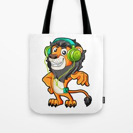 Lion listening to Music Headphones walkman gift Tote Bag