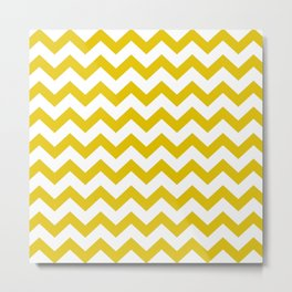 Chevron Texture (Gold & White) Metal Print