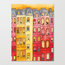 The Sunset Townhouse Block Canvas Print