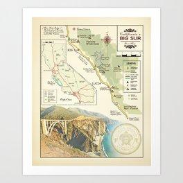 Bixby Bridge [vintage inspired] Big Sur Area Map Art Print