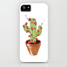 Cactus blooming with pumpkins, original copic drawing iPhone Case