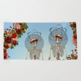 The Summer of Love anatomical skeleton collage art by bedelgeuse Beach Towel