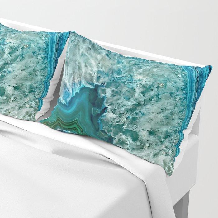 Aqua turquoise agate mineral gem stone Kissenbezug