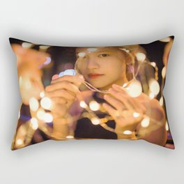 Woman Through String of Lights Rectangular Pillow
