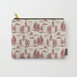 Red Alien Abduction Toile De Jouy Pattern Carry-All Pouch
