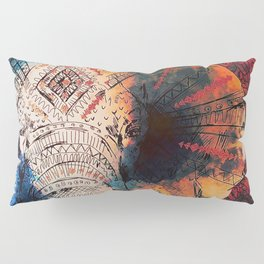 Indian Sketched Elephant Red Orange Pillow Sham