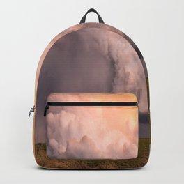 Storm Runner - Thunderstorm in Golden Light Over Kansas Landscape Backpack