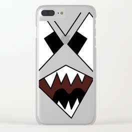 Scary Snarling Angry Monster Face Graphic Illustration  print Clear iPhone Case