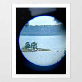 Through binoculars and cellphone Art Print
