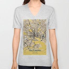 Baltimore Yellow City Map Unisex V-Neck