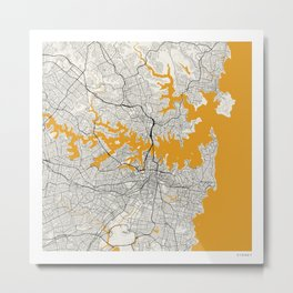 Sydney Map Metal Print