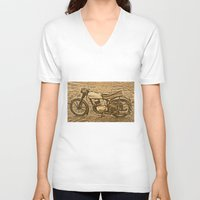 motorcycle V-neck T-shirts featuring Jawa motorcycle by AhaC
