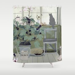Indoor Garden With Fig Tree Shower Curtain