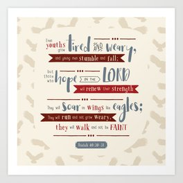 """""""Hope in the Lord"""" Hand-Lettered Bible Verse Art Print"""