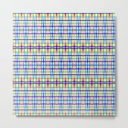Blue Neon Plaid Metal Print