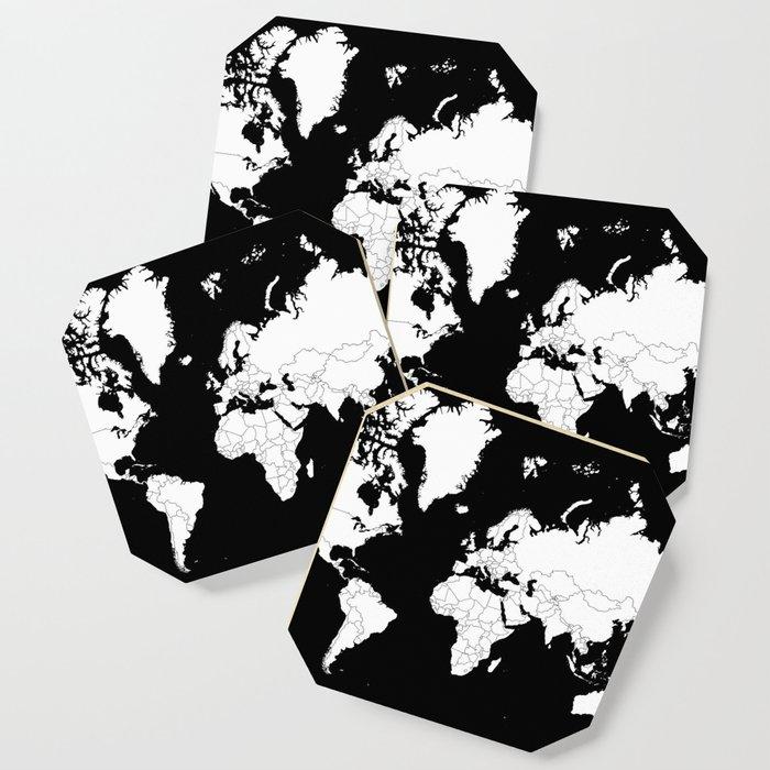 Minimalist world map white on black background coaster by minimalist world map white on black background coaster gumiabroncs Images