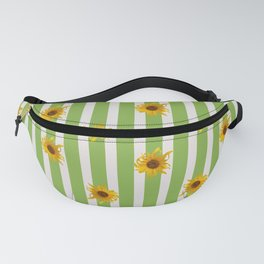 Sunflowers on Green and White Stripes Fanny Pack