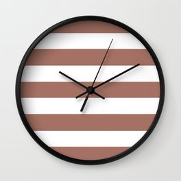 Blast-off bronze -  solid color - white stripes pattern Wall Clock