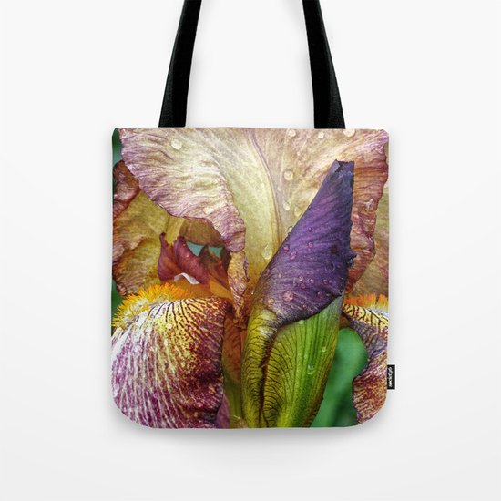 Iris With Raindrops  Tote Bag