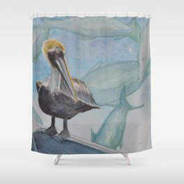 A Pelican's Dream Shower Curtain