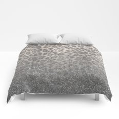 Shimmer (Snow Leopard Glitter Abstract) Comforters