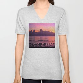 Spectacular South Pacific Sunset Near Huahini Island, Tahiti Unisex V-Neck