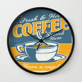 Vintage poster- Coffee Wall Clock