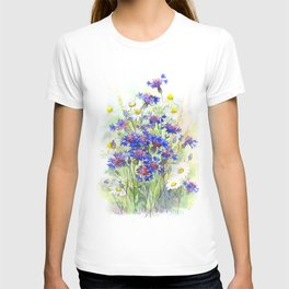 Meadow watercolor flowers with cornflowers T-shirt