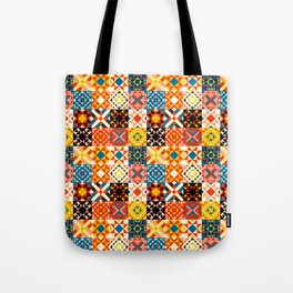 Maroccan tiles pattern with red an blue no2 Tote Bag