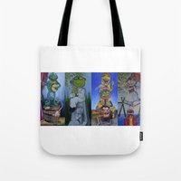 muppet Tote Bags featuring Muppet Stretching Room Portraits by Lissyleem