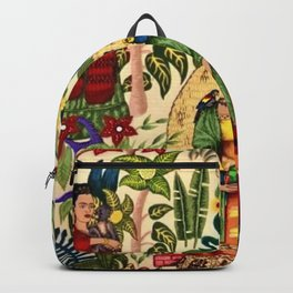 Coyoacán Mexican Garden of Casa Azul Lush Tropical Greenery Floral Landscape Painting Backpack
