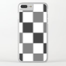 Slate & Gray Checkers / Checkerboard Clear iPhone Case