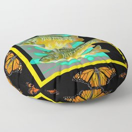 MODERN  MONARCH BUTTERFLIES FISH BLACK  AQUATIC  COLLAGE Floor Pillow