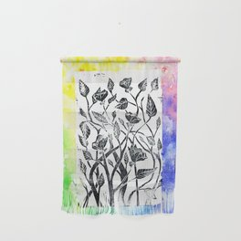 rainbow floral watercolor Wall Hanging